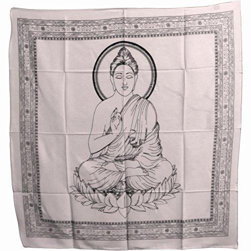 Buddha Indian Cotton Yoga Meditation Prayer Altar Cloth (40'' x 40'') (White) by Rajasthan Cottage