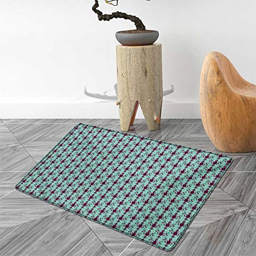 Damask Door Mat Rug Flowers and Vase Silhouette with Ornate Swirls on Pastel Toned Background Bath Mat 3D Digital Printing Mat 4'x6' Purple Pale Green ()