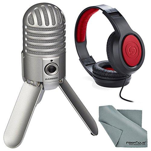 Samson Meteor Mic Studio USB Condenser Microphone Kit w/Headphones with Fibertique Cleaning Cloth (Brushed Nickel)