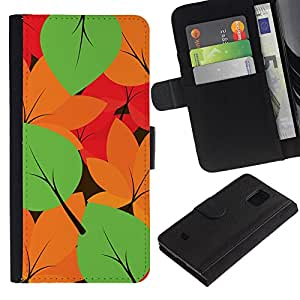 LASTONE PHONE CASE / Lujo Billetera de Cuero Caso del tirón Titular de la tarjeta Flip Carcasa Funda para Samsung Galaxy S5 Mini, SM-G800, NOT S5 REGULAR! / Autumn Leaves Colors Pattern