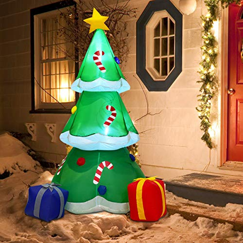 Tangkula 6 FT Inflatable Christmas Tree with Gift Boxes Self Inflating Electric Blow Up Lighted Interior with Fan and Anchor Ropes, Indoor Outdoor Garden Yard Family Prop Decoration