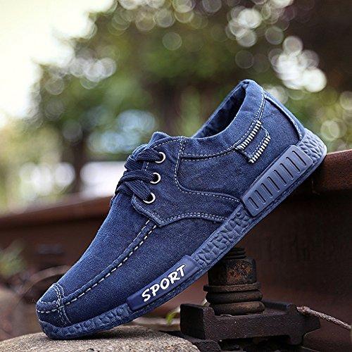 Men 's old Beijing shoes spring summer canvas shoes casual breathable students trend shoes ( Color : Blue , Size : US:8.5\UK:7.5\EUR:42 - Blue Color Uk