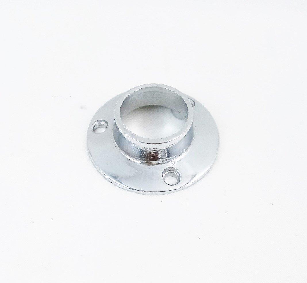 Wardrobe Rod Rail Socket End Support Bracket 19mm in Chrome Plated (Pairs) Euroart