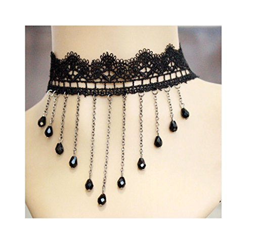 Women Victorian Style Tassel Lace Choker Necklace with Beads Pendant,for Masquerade Valentine's Day Party,Gift for Girlfriend Victorian Style Tassel