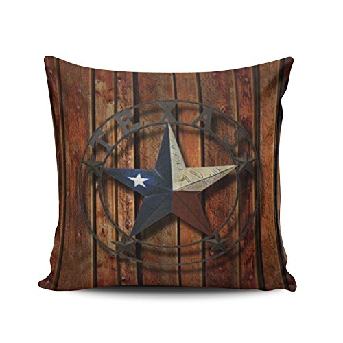 Salleing Custom Fashion Home Decor Pillowcase Western Texas Star Square Throw Pillow Cover Cushion Case 16x16 Inches One Sided Print
