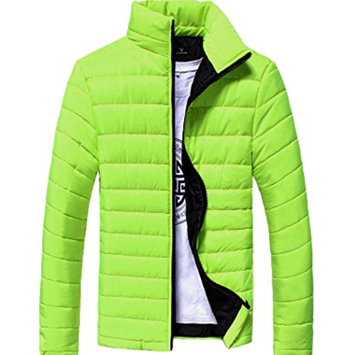 Midweight Varsity Jacket (GREFER Clearance New Men Cotton Stand Zipper Warm Winter Thick Coat Jacket (XL, Light Green))