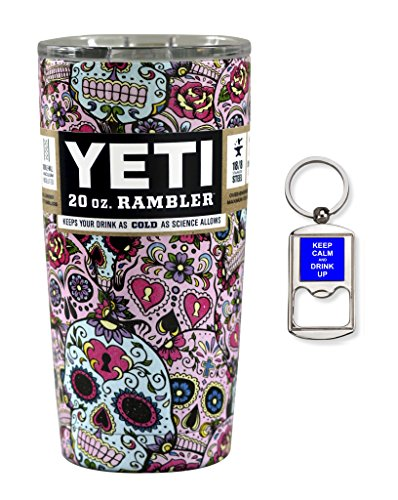 Custom YETI Coolers Powder Coated or Hydro Dipped Insulated Stainless Steel 20 Ounce (20 oz) (20oz) Rambler Tumbler Travel Cup Mug with Lid and Bottle Opener Keychain (Dipped Sugar Skull)