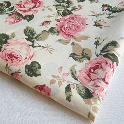Rose Upholstery Fabric - Flower Rose in Sweet Vintage Pink Red Roses Bouquet Wedding, Bunch on Off White Fabric 36 by 36-Inch Wide (1 Yard) (FBA-CT146)