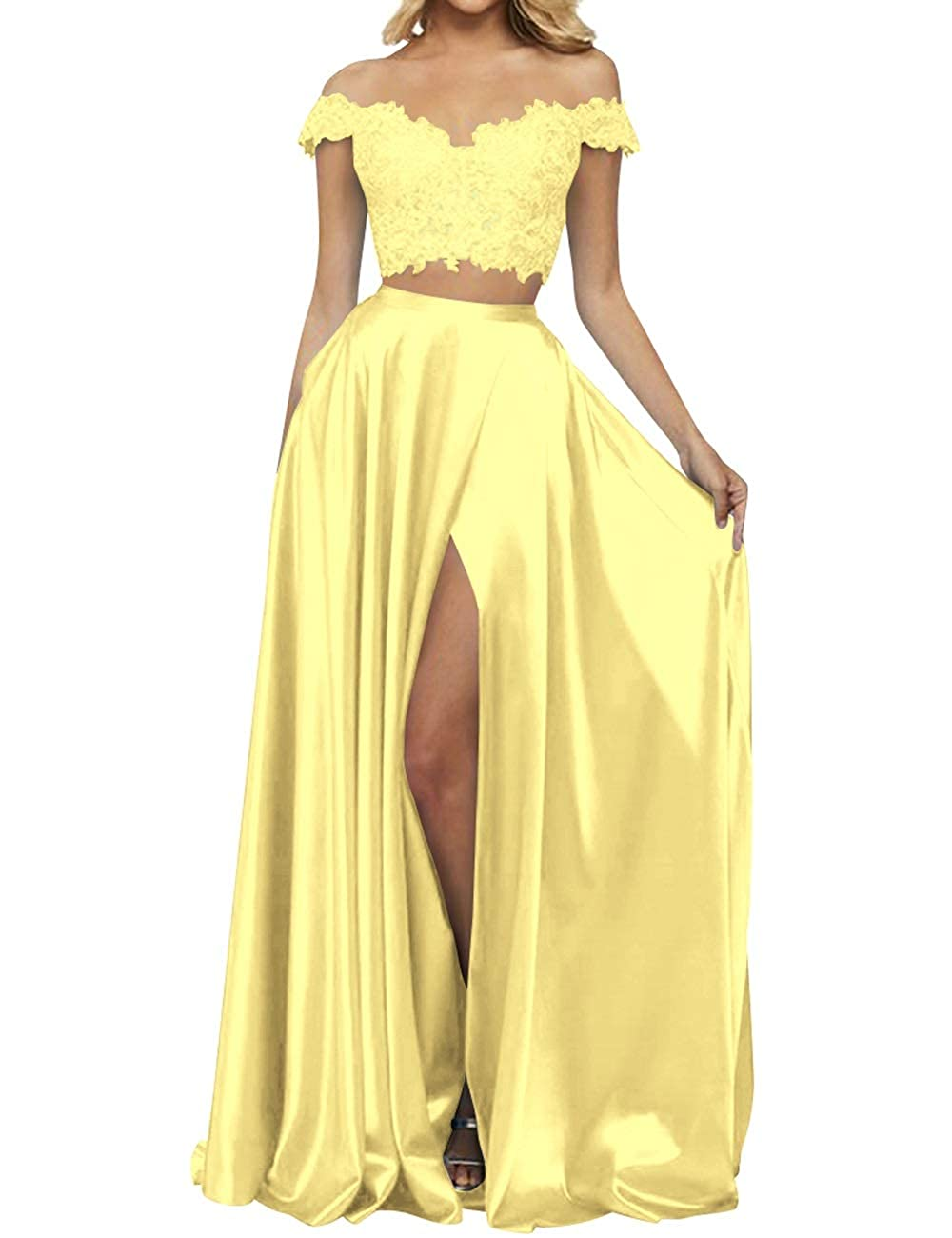 Daffodil MorySong Women's 2 Piece Lace Satin High Split Off The Shoulder Prom Evening Dress