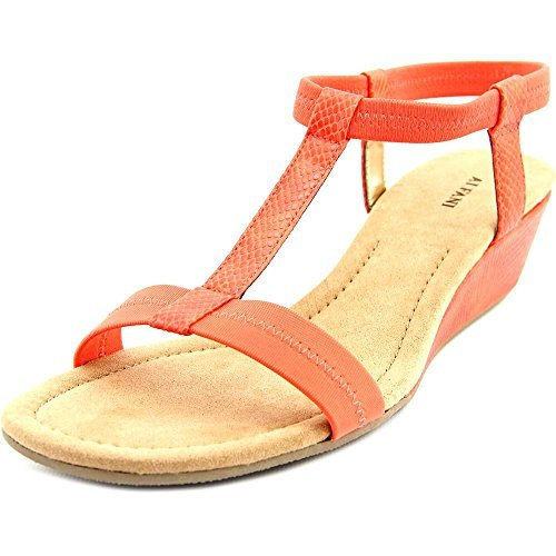 Alfani Voyage Women Open Toe Canvas Orange Wedge Sandal, Red, Size 11.0