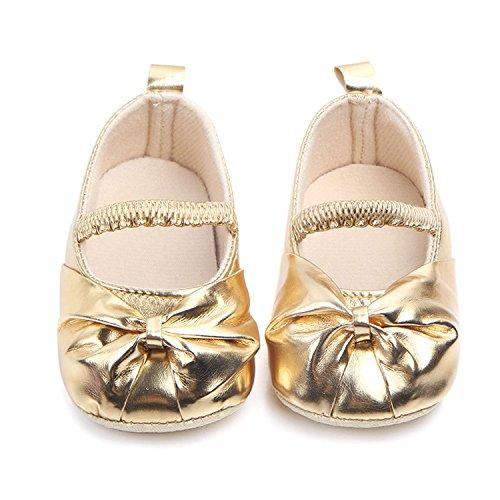 (M2cbridge Baby Girl's Bow Dress Shoe Infant Toddler Pre-walker Crib Shoe (12-18 Months, Metallic))