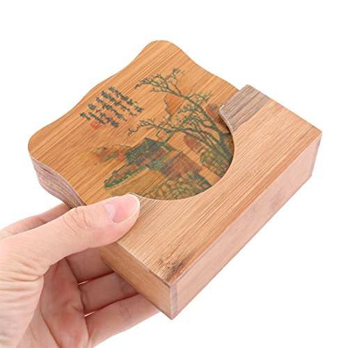Amazon.com | Patrón de bambú eDealMax Building Home restaurante taza de té bandeja Mat Coaster Set Cuenco Brown: Coasters
