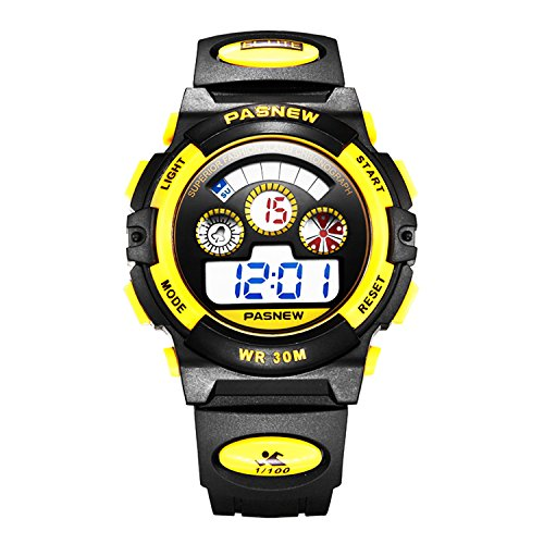 Waterproof Boys/Girls/Childrens Digital Watches for Kids 5-12 Years Old Gift Watches (Yellow)