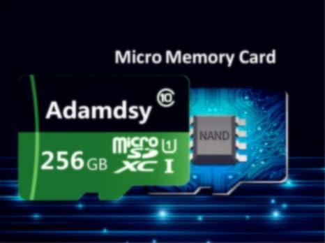 Adamdsy Tarjeta Micro SD 256 GB, microSDXC 256 GB Tarjeta De Memoria + Adaptador SD para cámaras, tabletas y Android Smartphones (D158-GA1) (256GB)