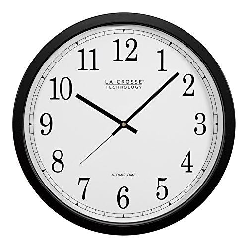 Atomic Clock Analog Lacrosse - La Crosse Technology WT-3143A-INT 14-Inch Atomic Wall Clock, Black
