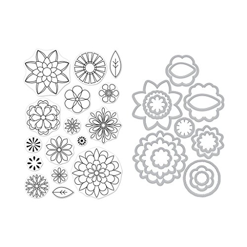 Hero Arts Clear Stamps and Frame Cuts Die Combo, Blossoms for Coloring by Hero Arts