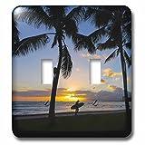 3D Rose lsp_230691_2 Sunset, Waikiki, Oahu, Hawaii Double Toggle Switch