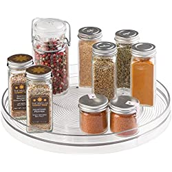 mDesign Lazy Susan Turntable Spice Organizer for Kitchen Pantry, Cabinet, Countertops - Large, Clear