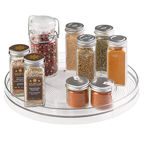 mDesign Lazy Susan Turntable Food Storage Container for Cabinets, Pantry, Refrigerator, Countertops, BPA Free - Spinning Organizer for Spices, Condiments, Baking Supplies - 11