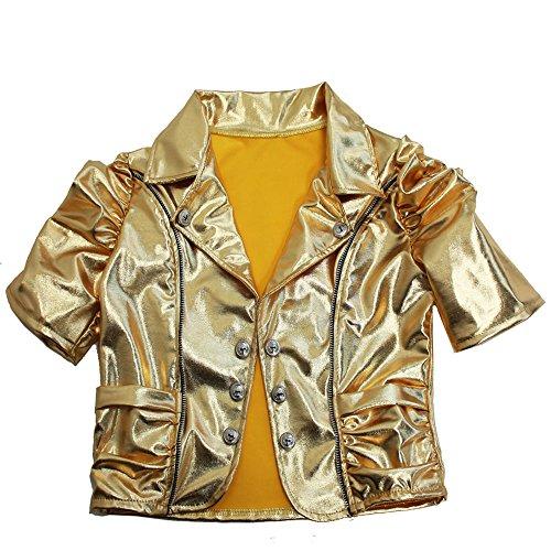 ライダース ジャケット ボレロ カーディガン トップス 半袖 メタリック 衣装 ゴールド シルバー レッド ブラック