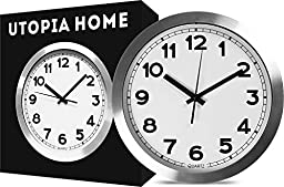 Large Indoor/Outdoor Decorative Silver Wall Clock - Universal Non - Ticking & Silent 12-Inch Wall Clock - by Utopia Home (Aluminium)