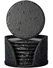 Urbanstrive Eco-Friendly Slate Drink Coasters with Holder, Set of 8, Round Slate Stone Coasters for Drinks Bar Home, 4 Inch, Black
