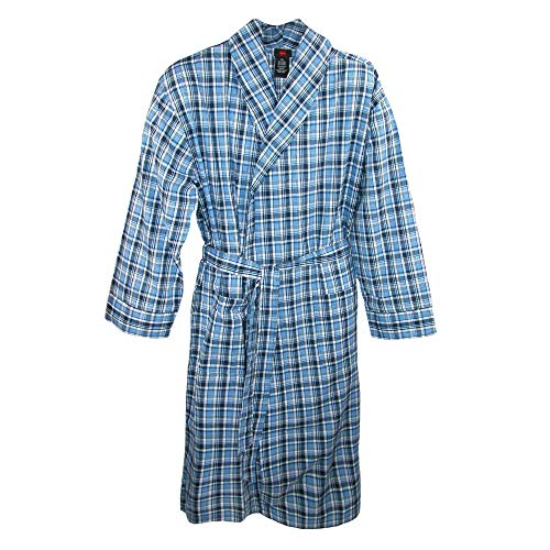Hanes Men's Lightweight Woven Broadcloth Robe, XL/2XL, Blue Plaid ()