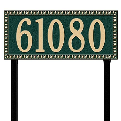 Whitehall Products Egg and Dart Rectangular Green/Gold Estate Lawn One Line Address Plaque