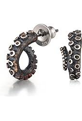 Silversmith 925 Sterling Silver Organic Design 3D Octopus Stud Earring (0.6' Diameter)