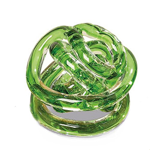 The Infinity Knot, Art Glass, Table Top Sculpture, Clear With Shamrock Green Core, Artisan Crafted, Hand Blown, 3 1/2 Inches, By Whole House Worlds - Infinity Desktops