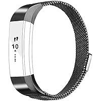 Vancle バンド for Fitbit Alta HR/Fitbit Alta ステンレス鋼 バンド 交換ベルト for Fitbit Alta 2016 / Fitbit Alta HR 2017 ユニークなマグネットロック付き (黒い, Small)