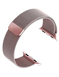 top4cus Apple Watch Band 38mm, Milanese Loop Stainless Steel Bracelet Strap Replacement Wrist iWatch Band with Magnet Lock for 38mm Apple Watch – Rose Gold