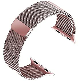 top4cus Double Electroplating Milanese Loop Stainless Steel Replacement iWatch Band with Magnetic Closure Clasp for Apple Watch - 38mm Regular Length - Rose gold