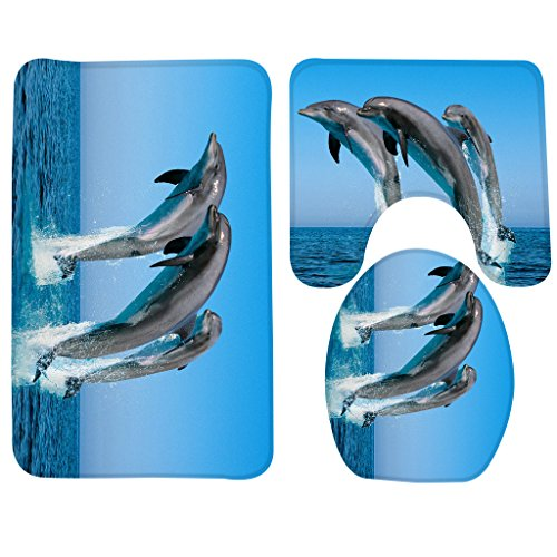 Wondertify Bath Mat,Animals Dolphin Jumping Bathroom Carpet Rug,Non-Slip 3 Piece Bathroom Mat Set