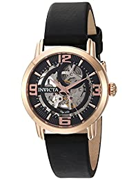 Invicta Women's 'Objet d'Art' Automatic Stainless Steel and Satin Casual Watch, Color:Black (Model: 22656)