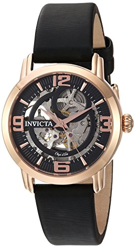 Invicta Women's Objet d'Art Stainless Steel Automatic-self-Wind Watch with Satin Strap, Black, 18 (Model: ()