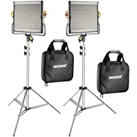 Neewer 2-Pack 480 LED Video Light with 78.7-inch Stainless Steel Light Stand Kit: Dimmable Bi-color LED Panel with U Bracket (3200-5600K,CRI 96+) for Photo Studio Portrait, YouTube Video Photography