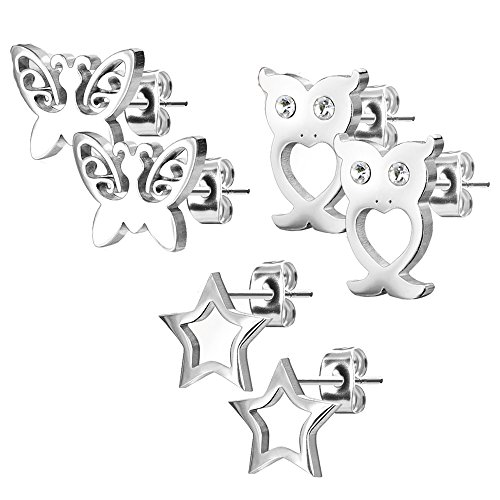 Earring Set Stud Butterfly (MoBody 3 Pairs Unique Womens Earrings Set Surgical Steel Butterfly Own Stud Earrings for Teens Value Pack (Silver-Tone))