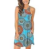 AgrinTol Women Summer Casual Dress Sleeveless Party Beach T Shirt Pocketed Cover Ups Mini Dress (M, Blue)
