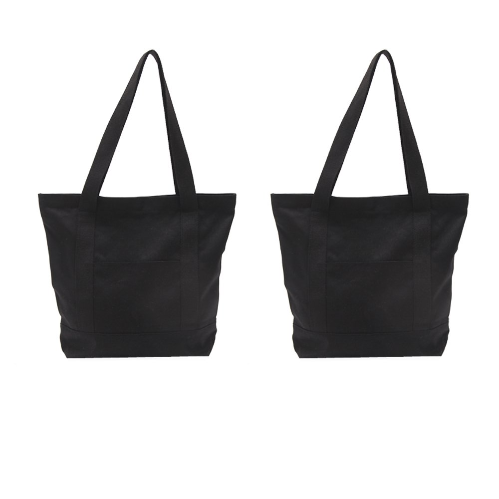 Augbunny Heavy Duty 100% Cotton Canvas Zipper Beach Shoulder Grocery Tote Bag With Outer Pocket 2-pack B-18-BL