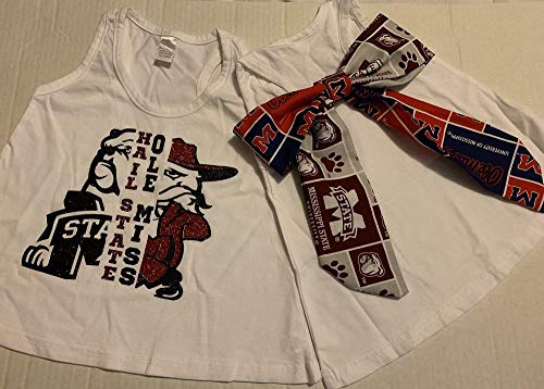 Handmade Football College House Divided Shirt with Bow MS State Bullodogs Ole Miss Rebels
