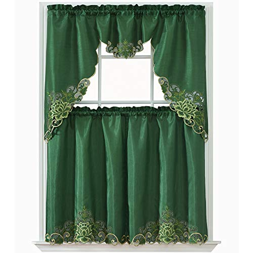 Green Kitchen Curtain - GOHD Golden Ocean Home Decor Passionate Bloom Kitchen Curtain Set Swag Valance and Tier Set. Nice Embroidery on Faux Silk Fabric with cutworks. (Dark Grass Green)