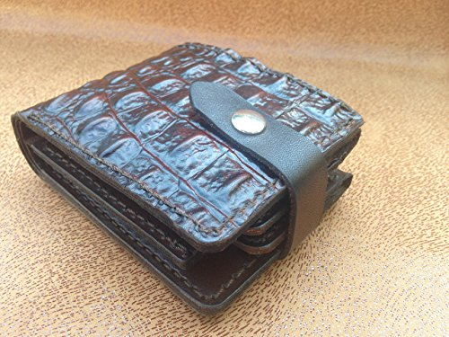 Genuine Leather Handmade High Quality Thick Men Wallet with Closure Snap, Billfold, Trifold, Cards Holder, Crocodile Pattern