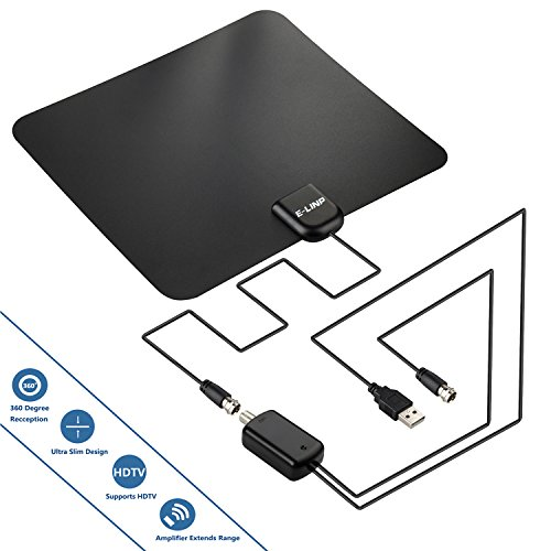 TV Antenna, 50 Mile Range Indoor TV Antenna with Detachable Amplifier USB Power Supply / 15ft High Performance Coax Cable - Support HDTV 1080P