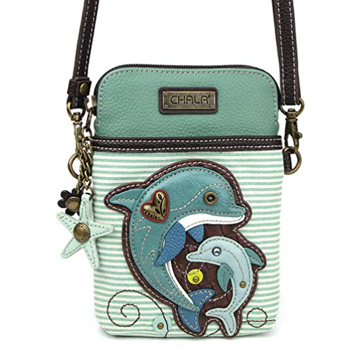 Chala Crossbody Cell Phone Purse - Women PU Leather Multicolor Handbag with Adjustable Strap - Dolphin Teal Stripe