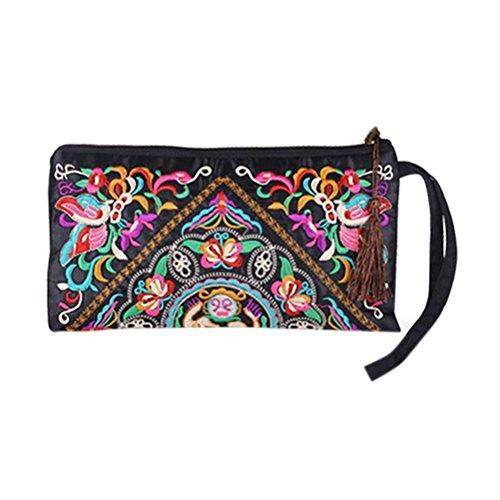 Tinksky Vintage Frauen ethnischen Geldbörse Brieftasche Beutel Schmetterling Blume Handy Tasche