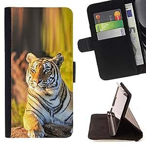 Jordan Colourful Shop - tigr zver vzglyad zelen For Samsung Galaxy S6 - < Leather Case Absorci????n cubierta de la caja de alto impacto > -