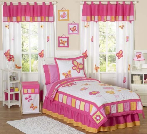Sweet Jojo Designs 3-Piece Twin Sheet Set for Pink and Orange Butterfly Collection Bedding Set