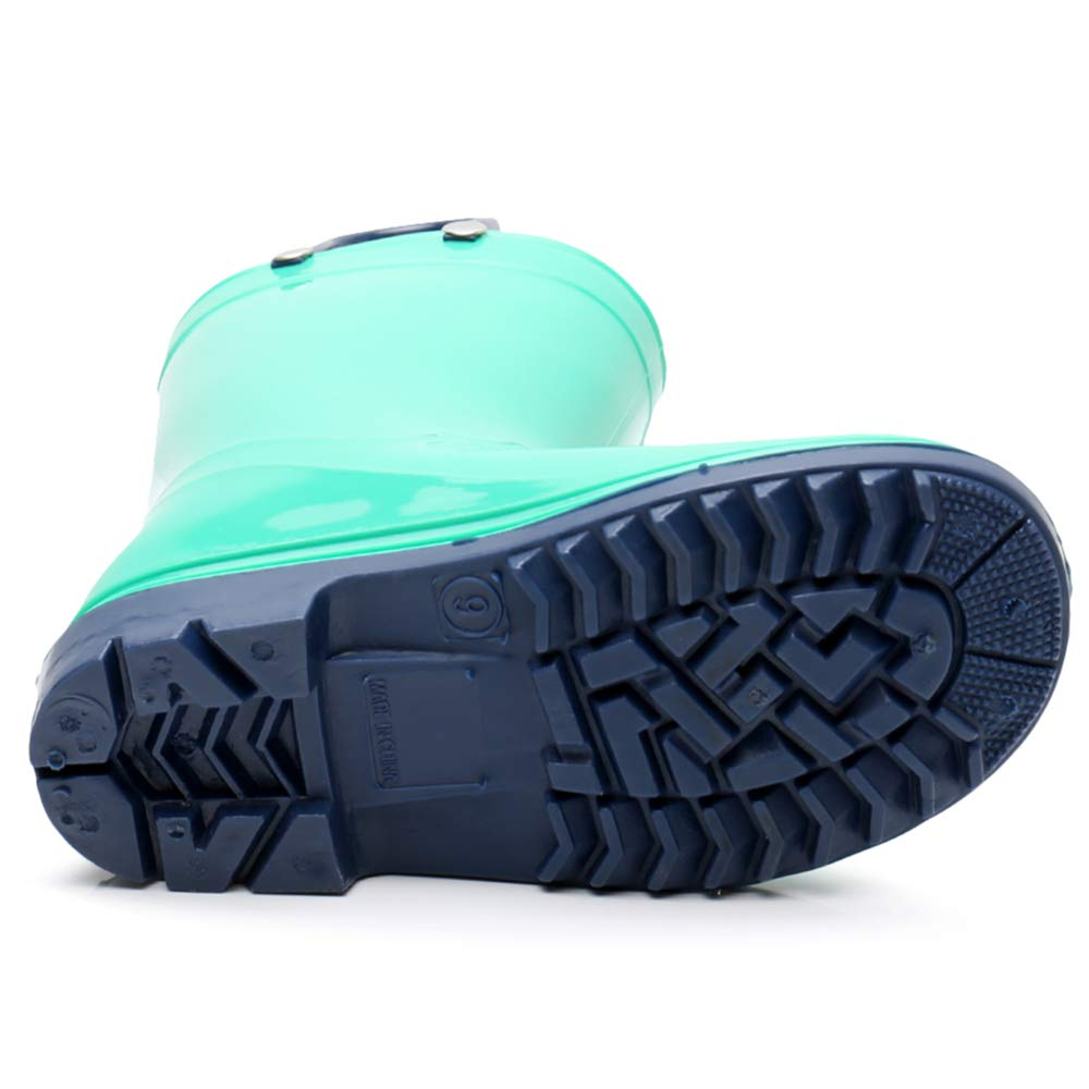 Girls Solid Lightweight Rain Boots with Handle Kids Cute Waterproof Shoes(Grey/Black/Blue/Green) (Little Kid 3M, Green) by TRIPLE DEER (Image #4)
