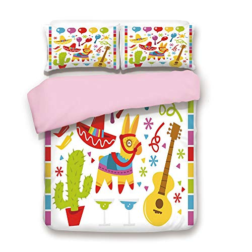 Pink Duvet Cover Set,FULL Size,Mexican Party Pattern Cactus Sombrero Musical Items and a Pinata Ethnic Inspirations,Decorative 3 Piece Bedding Set with 2 Pillow Sham,Best Gift For Girls Women,Multicol -